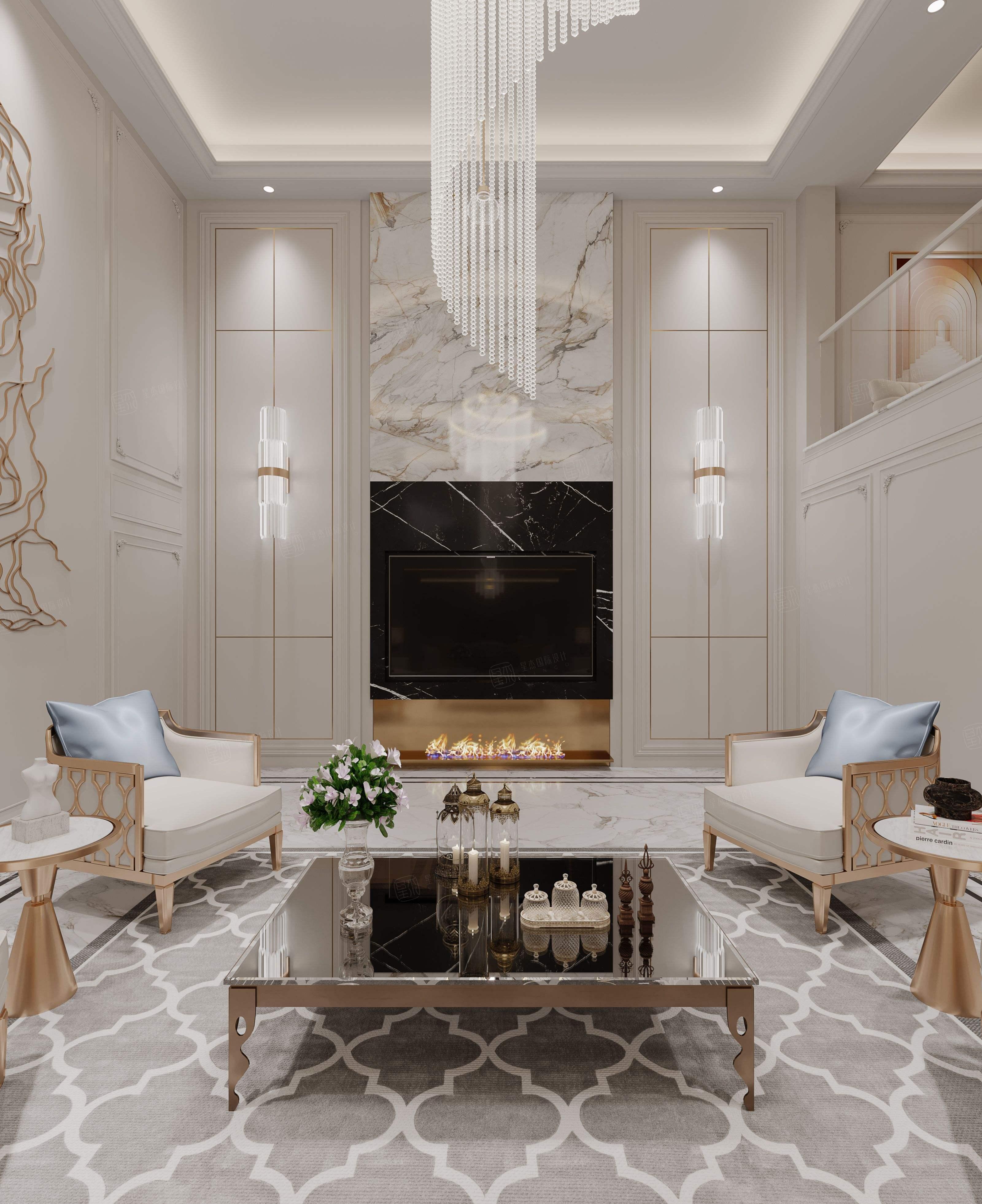 龙湖华宇云峰原著  法式风格装修客厅效果图
