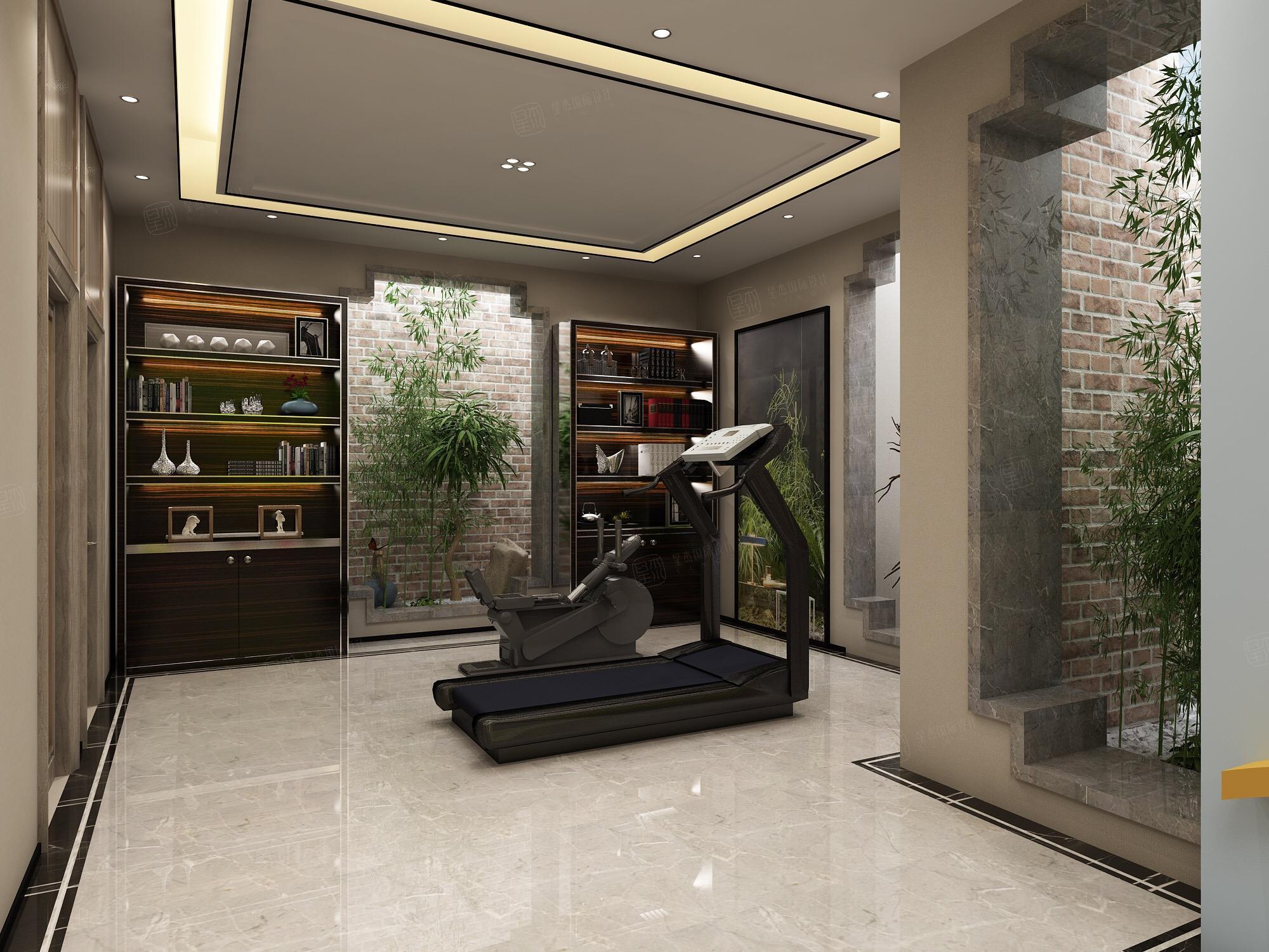 新中式风格-复地温莎堡装修地下室效果图