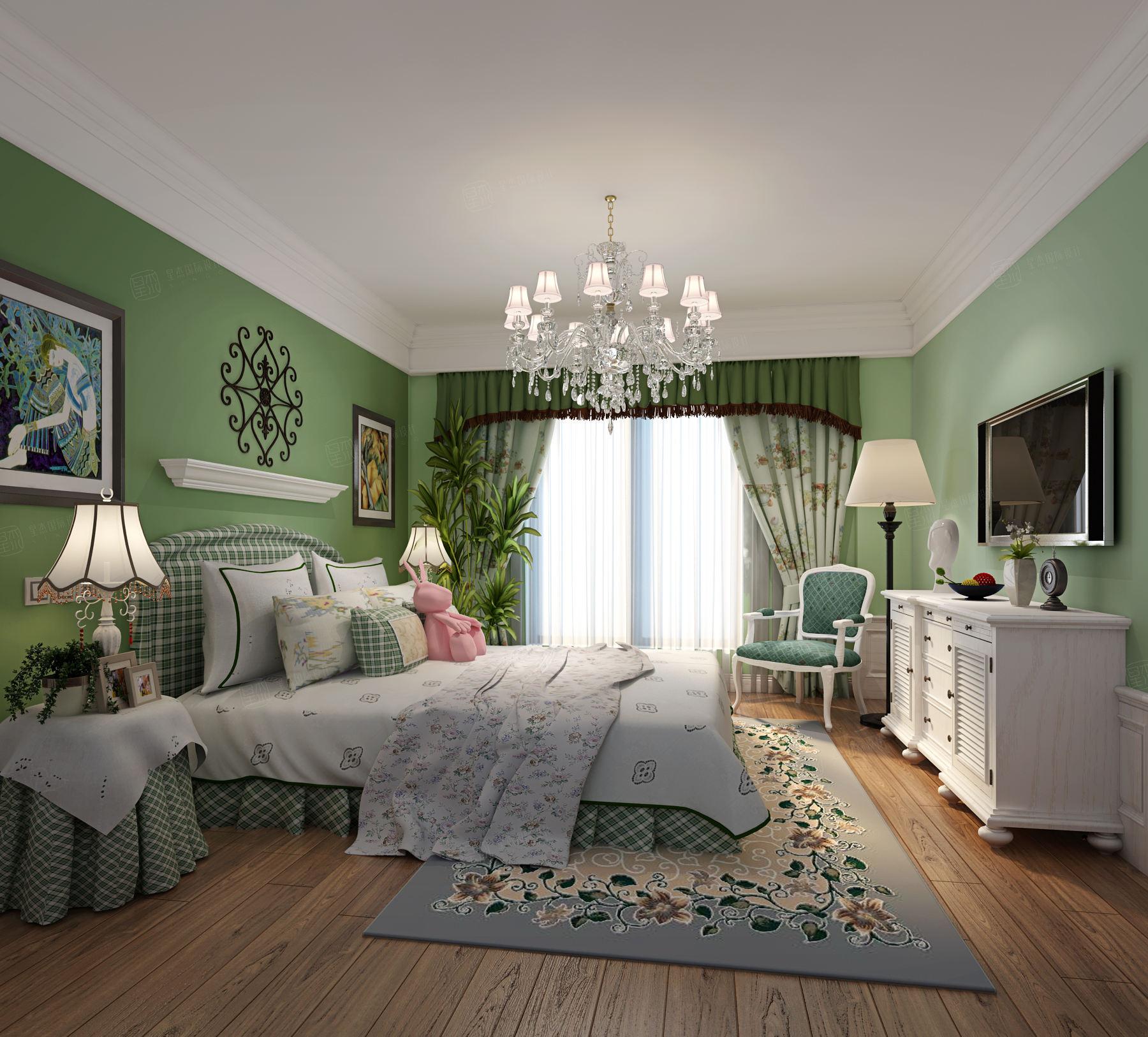 万科清林径 美式装修卧室效果图