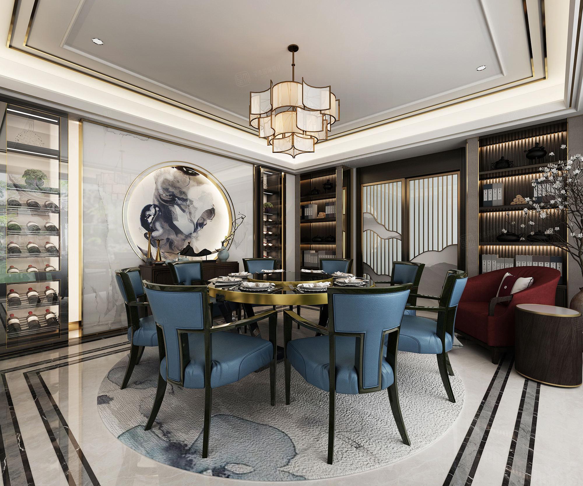 江枫园_轻奢新中式装修餐厅效果图