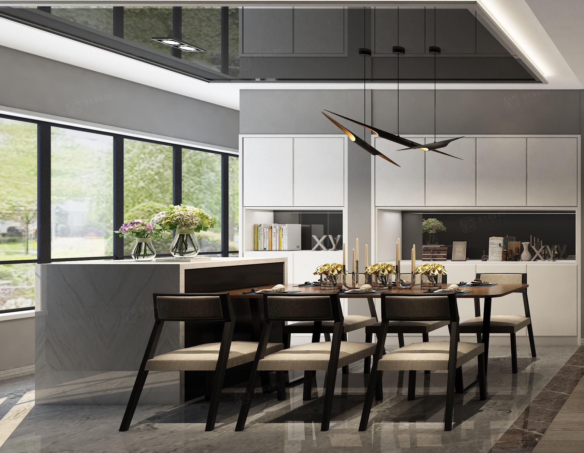 中环国际公寓 现代简约装修餐厅效果图