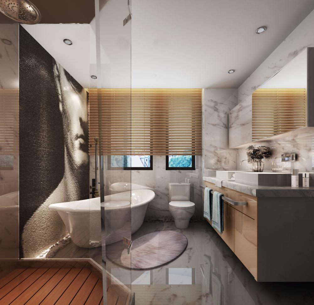 南郊中华园 现代简约装修卫生间效果图