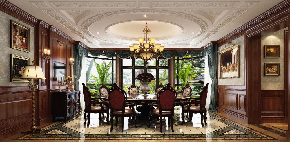 泰馨苑 新中式装修餐厅效果图
