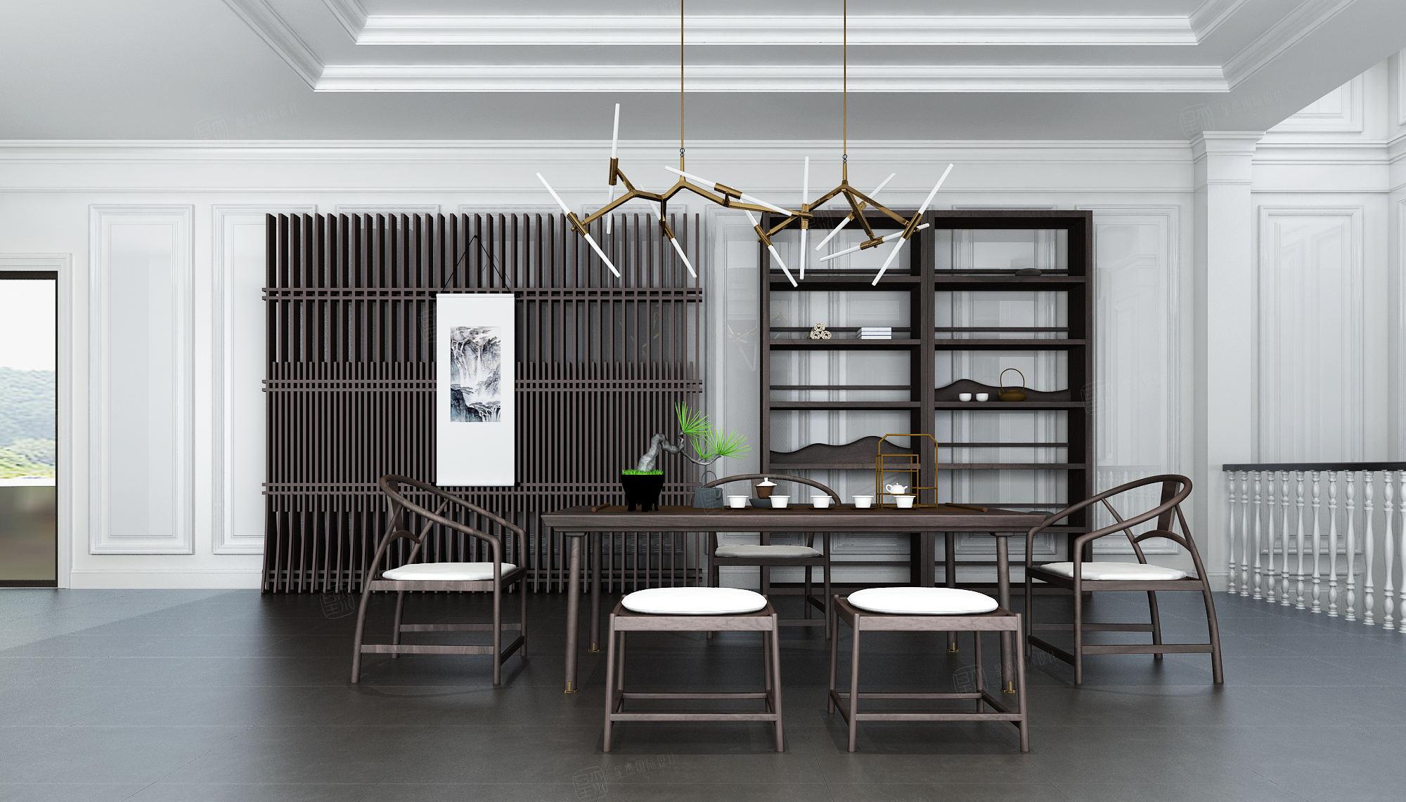 绿城玫瑰园 欧式装修茶室效果图