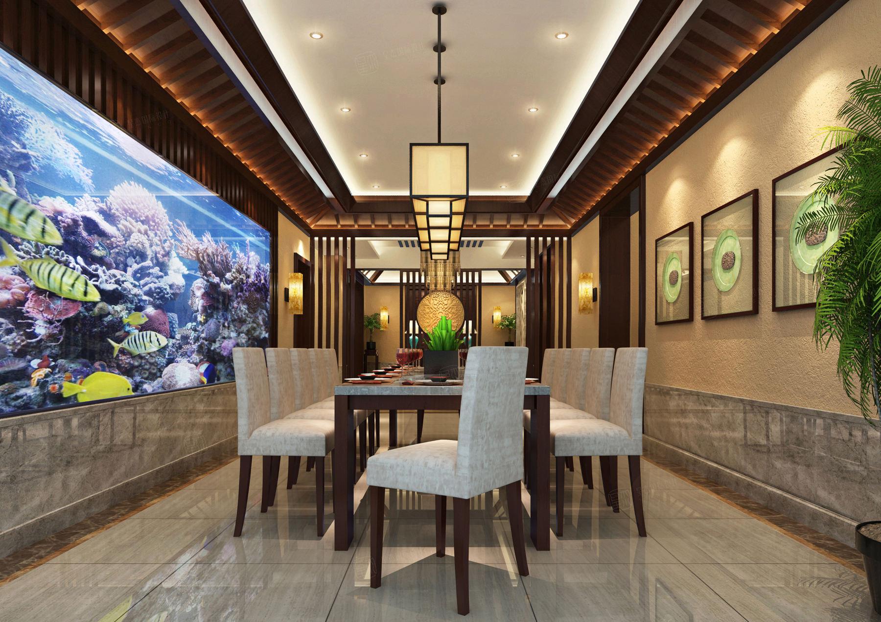 东郊紫园 新中式装修餐厅效果图