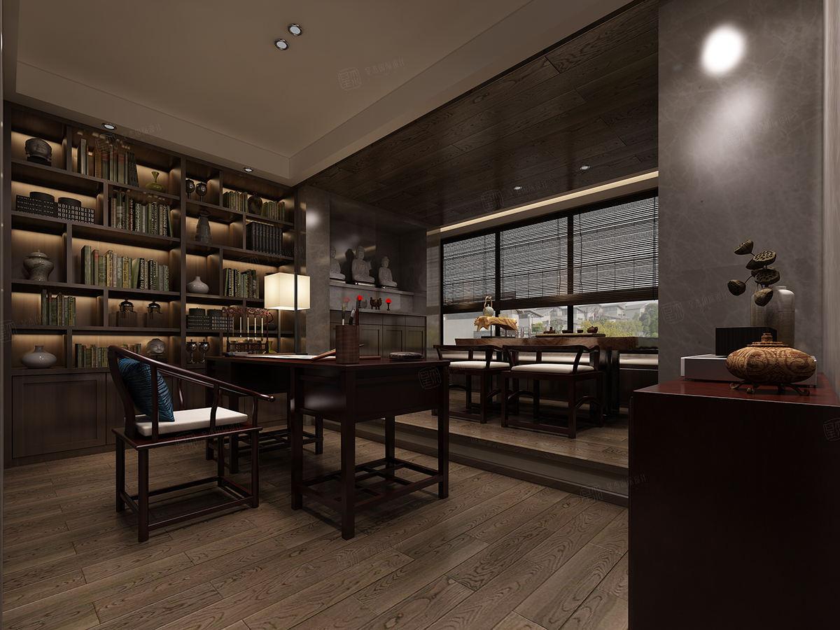 上海滩花园 新中式装修书房效果图