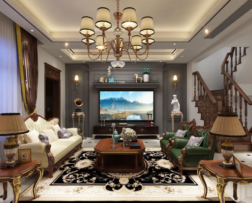简美风格-依水和墅装修客厅效果图
