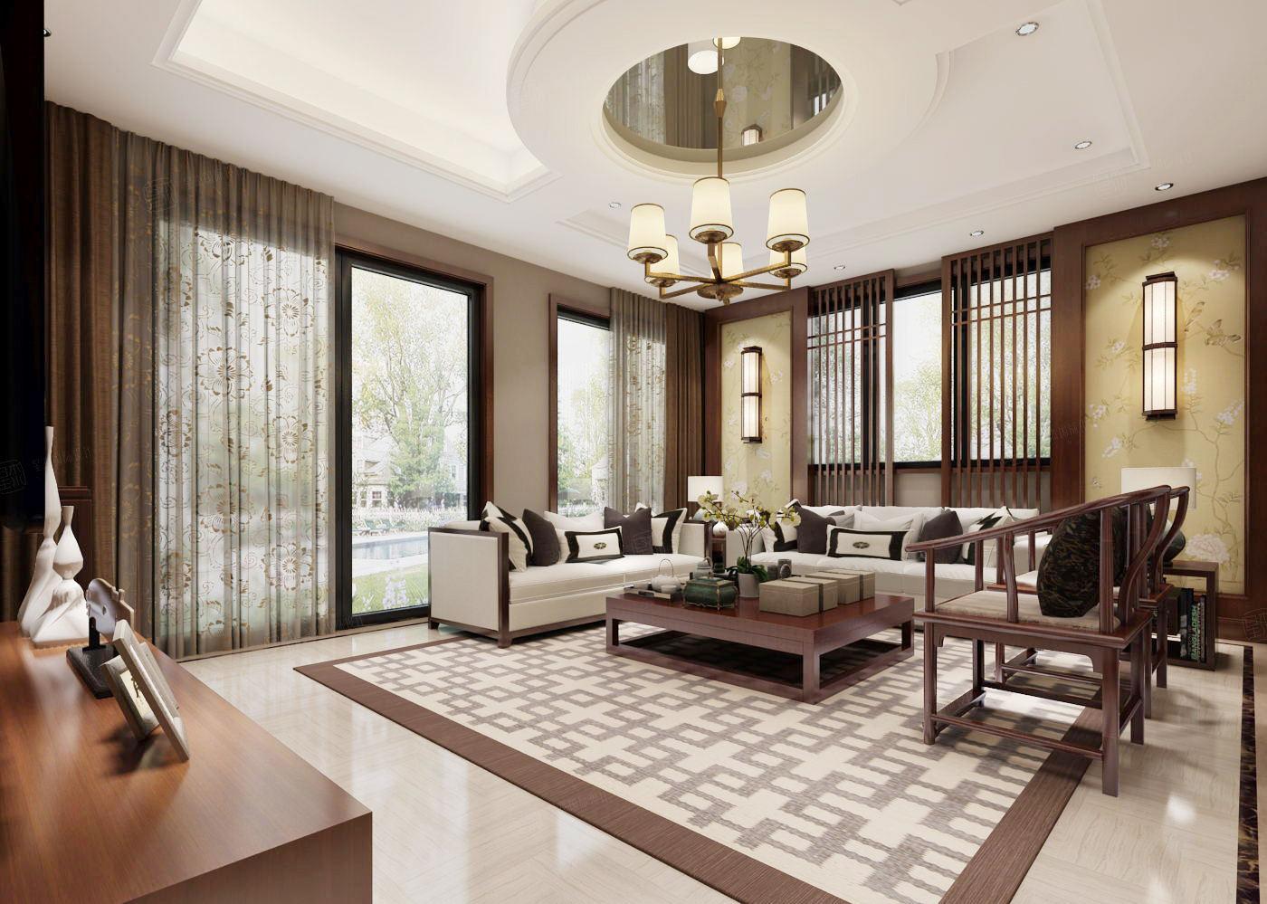 汤臣湖庭 新中式装修客厅效果图