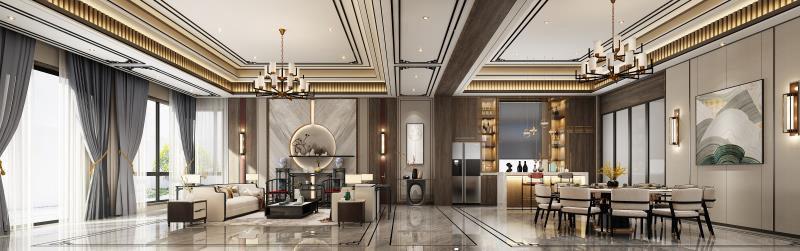 西郊缤纷-新东方主义装修客厅效果图