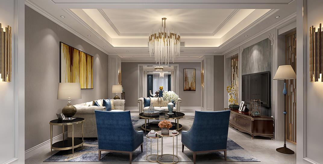 绿城兰园  美式装修会客厅效果图