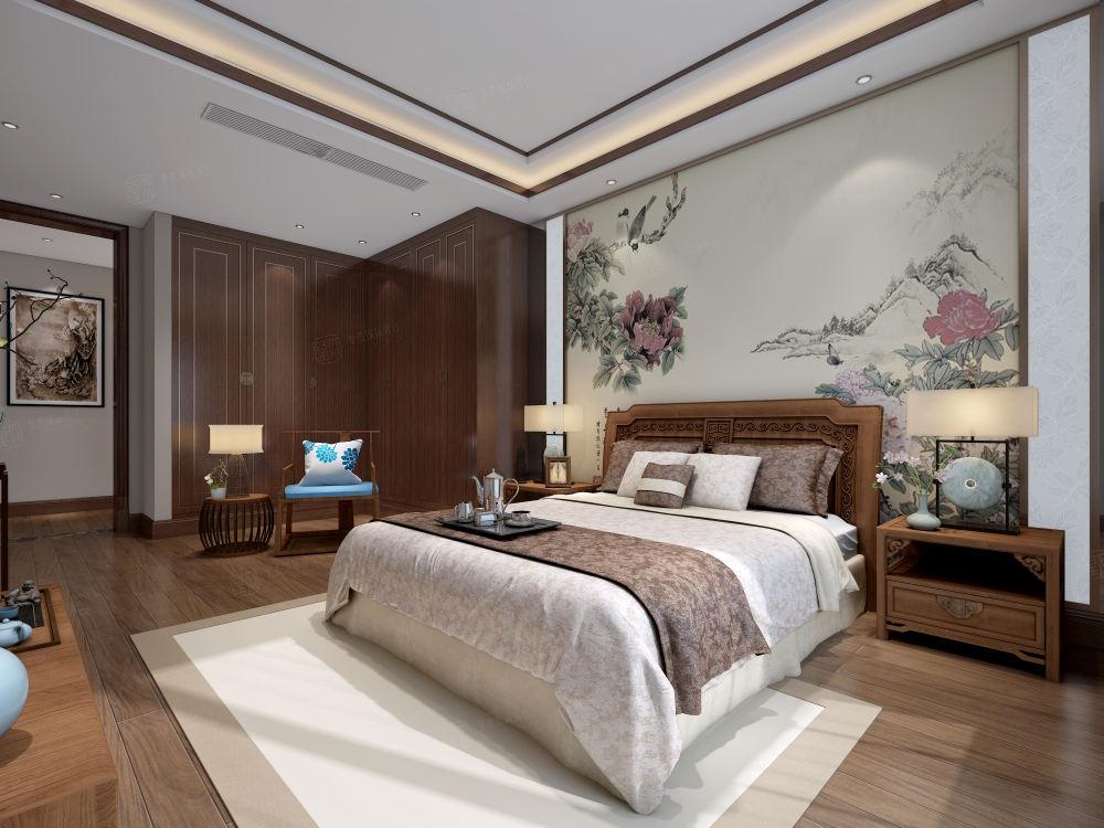黄金水岸_中式高雅与简朴之美装修卧室效果图