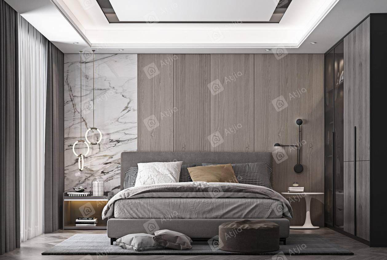 金水湾-现代简约装修卧室效果图