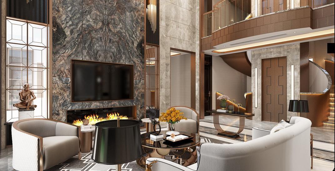 北上海 港式轻奢装修客厅效果图