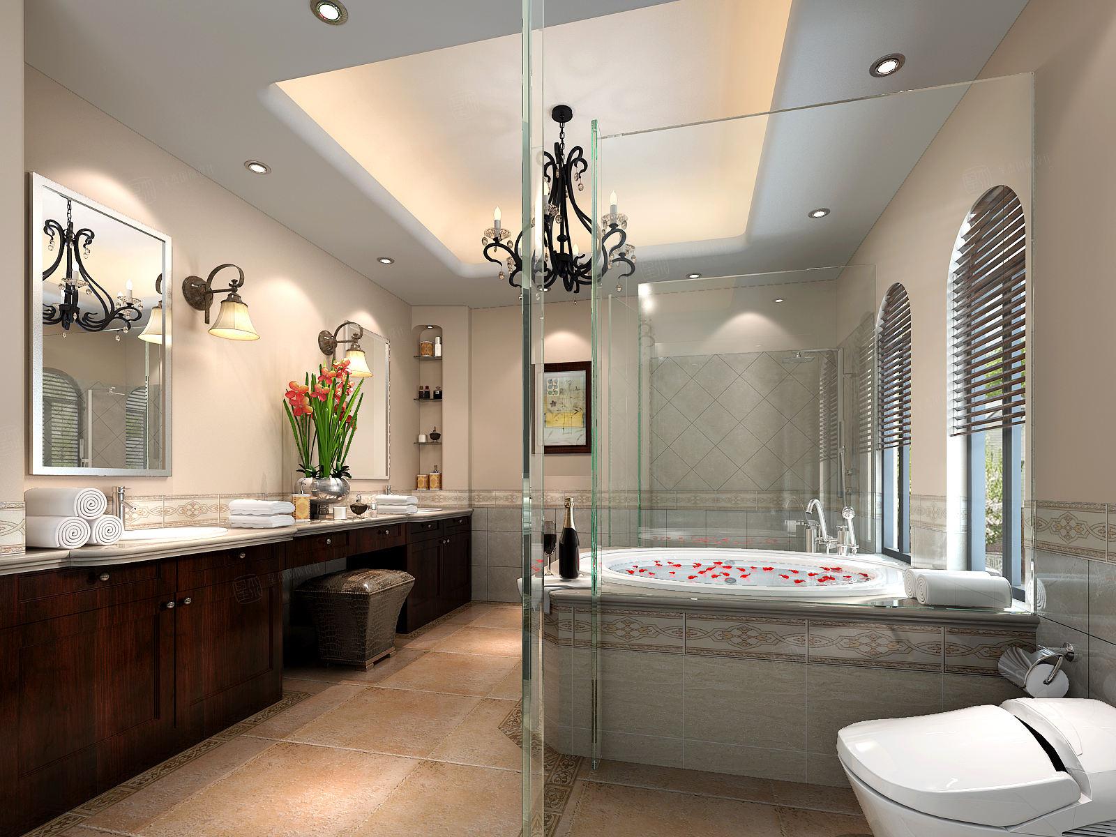 圣塔路斯 美式装修卫生间效果图
