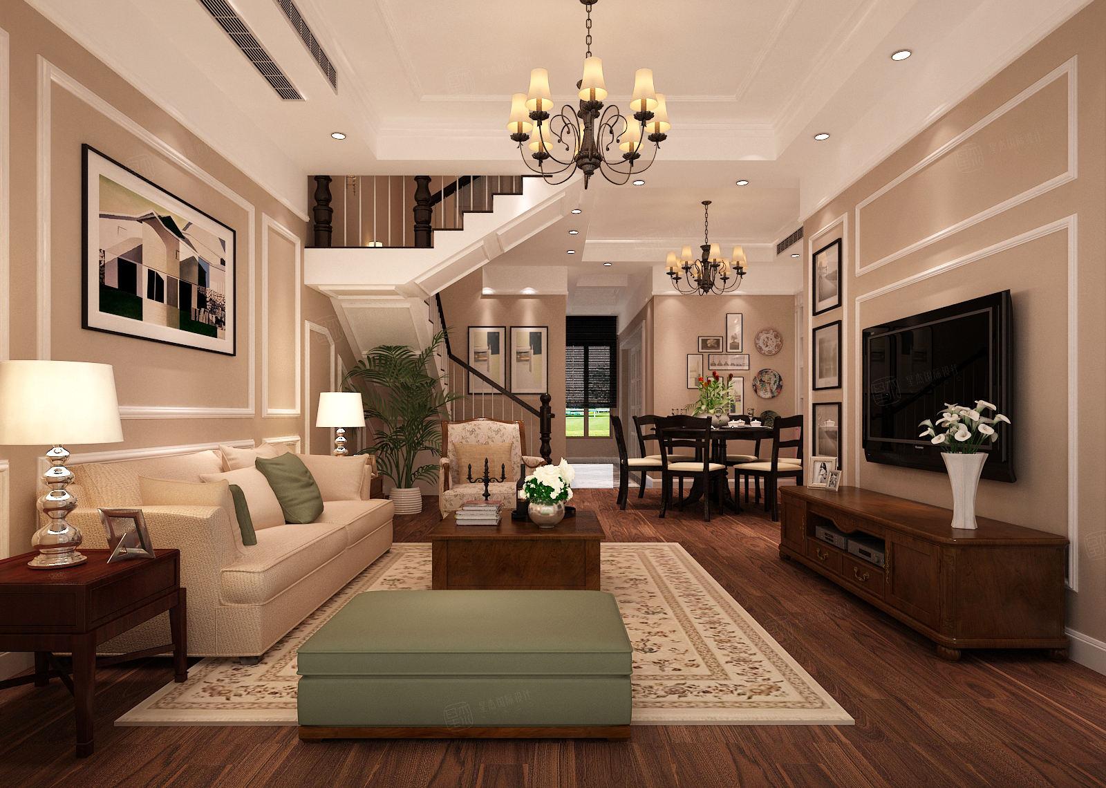 汤臣豪园 简欧装修客厅效果图