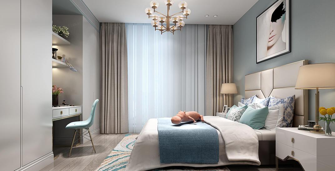 绿城兰园  美式装修卧室效果图