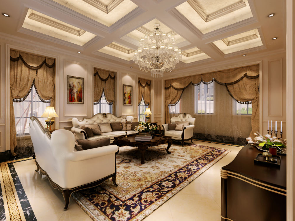 绿城玲珑苑 欧式装修客厅效果图