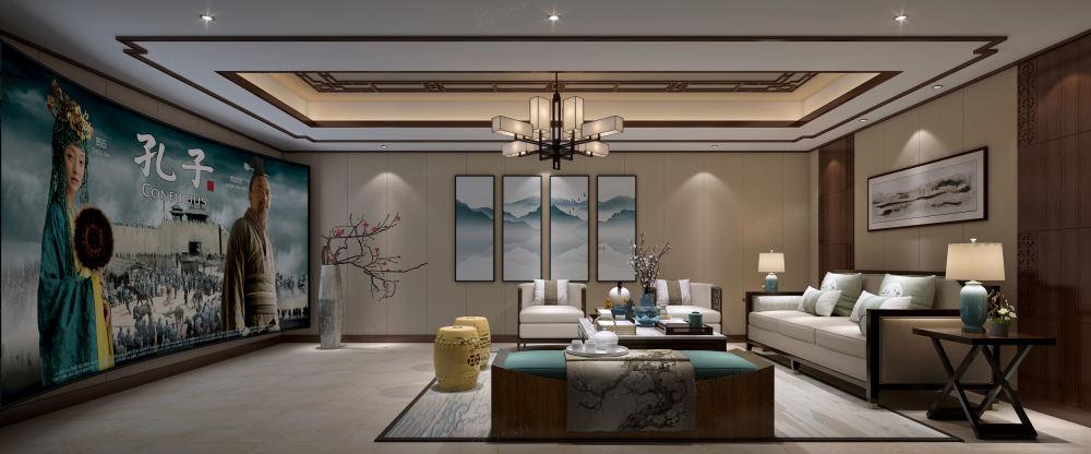 黄金水岸_中式高雅与简朴之美装修电视背景墙效果图