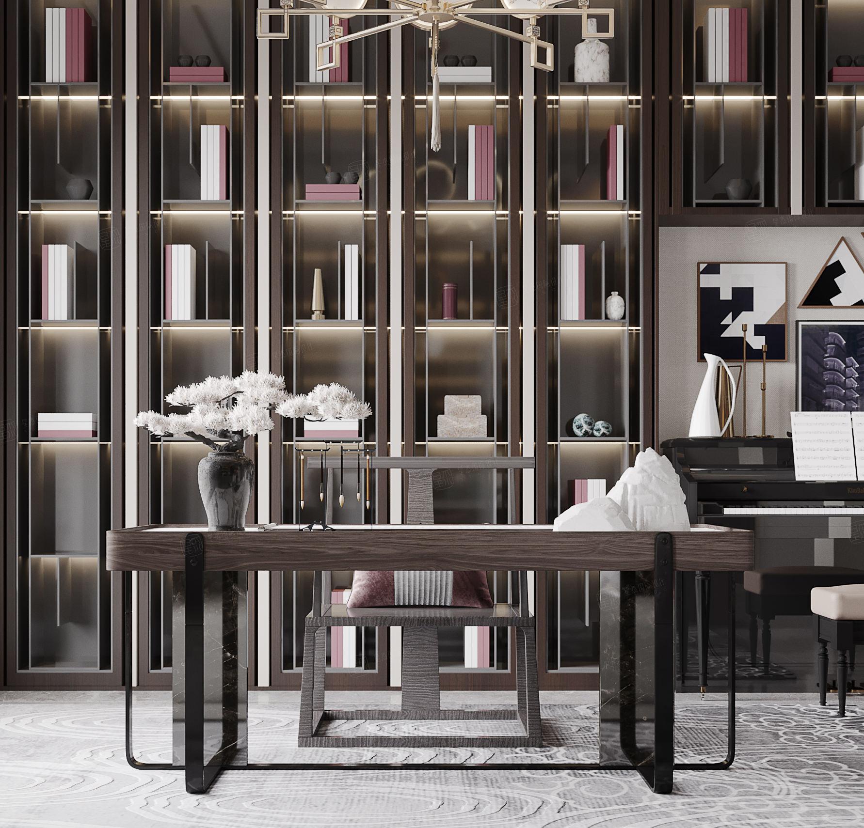 保利茉莉   新中式装修书房效果图