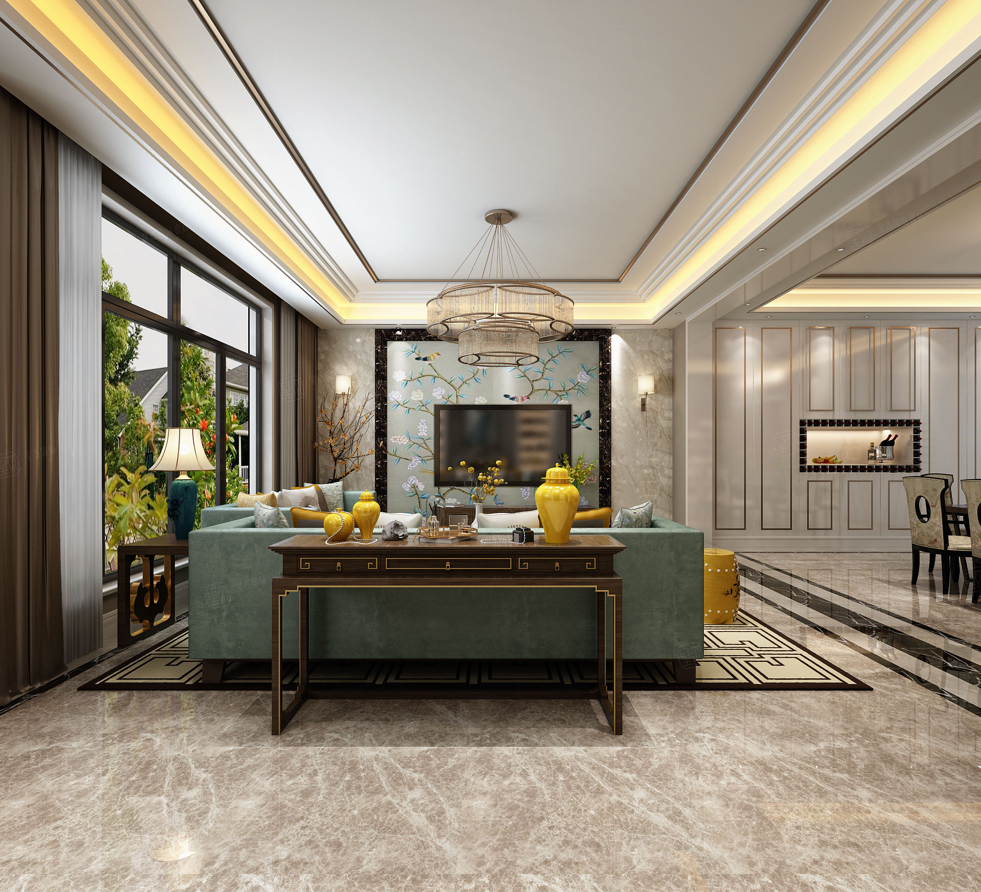 尚海郦景 混搭装修客厅效果图