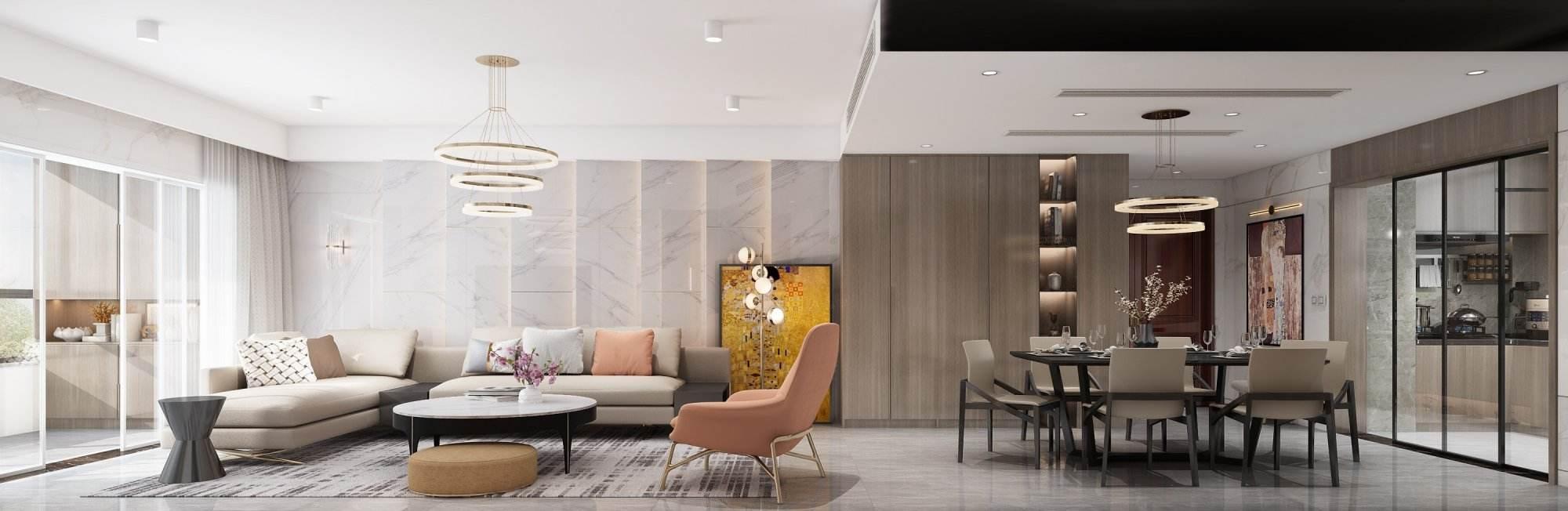 五坊园   现代-橙意之家装修效果图
