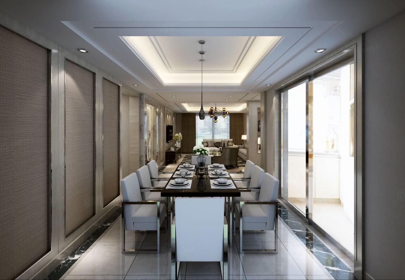 丽都华庭 现代时尚装修餐厅效果图