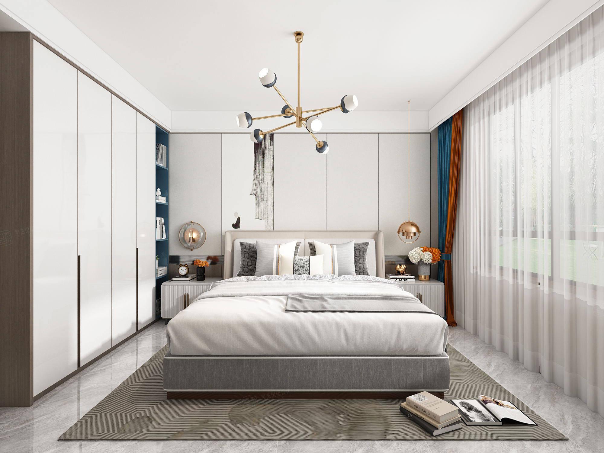 尚海郦景  极简装修卧室效果图