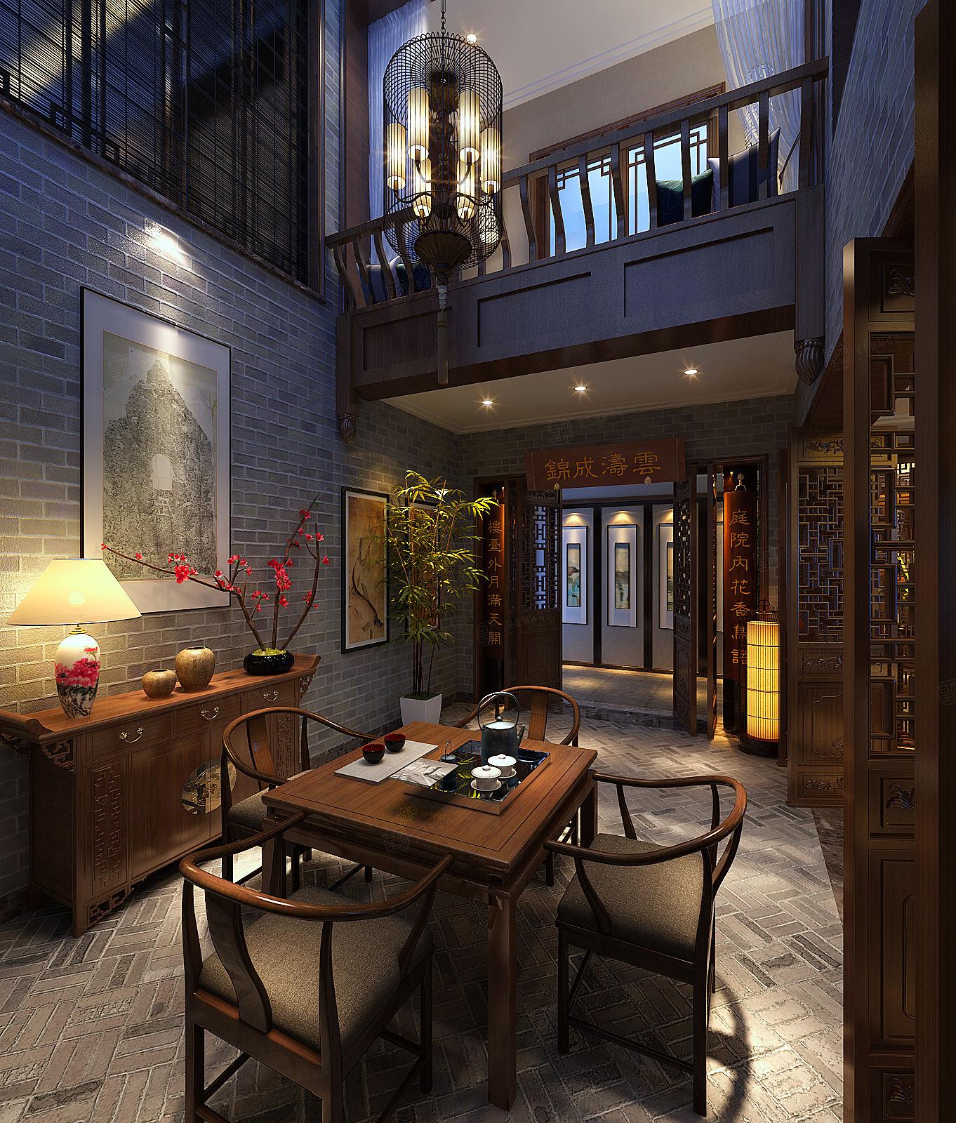 朗诗绿岛 现代中式装修茶室效果图
