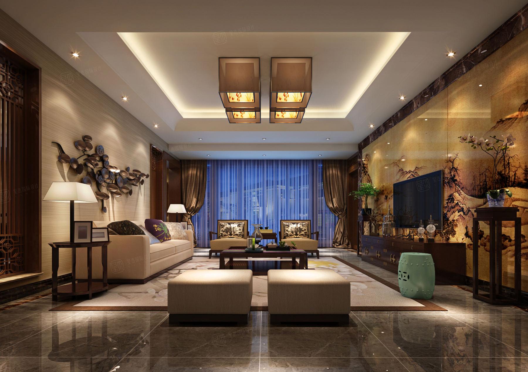东方夏威夷 新中式装修客厅效果图