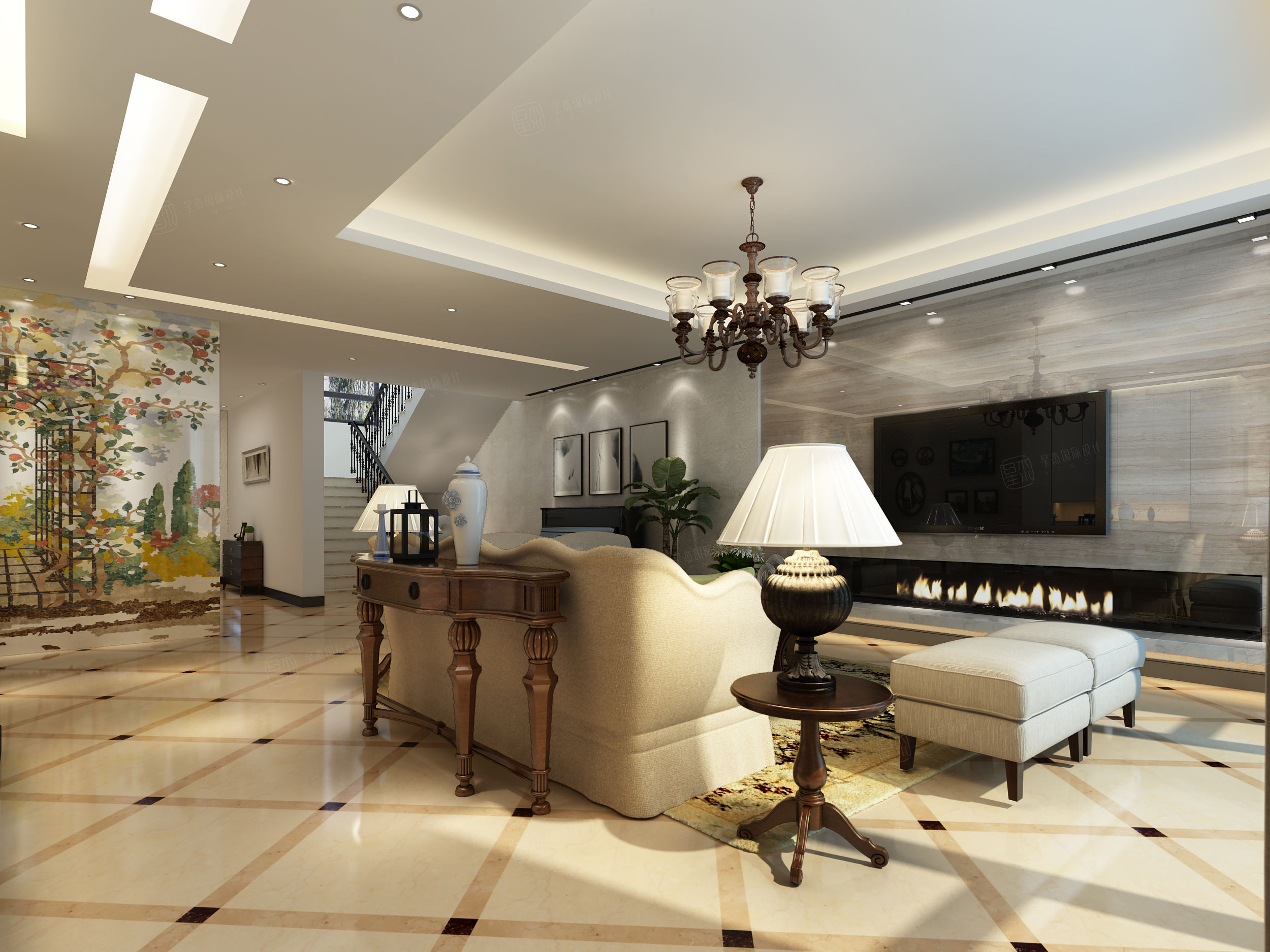 六十四阶 美式简欧混搭装修客厅效果图