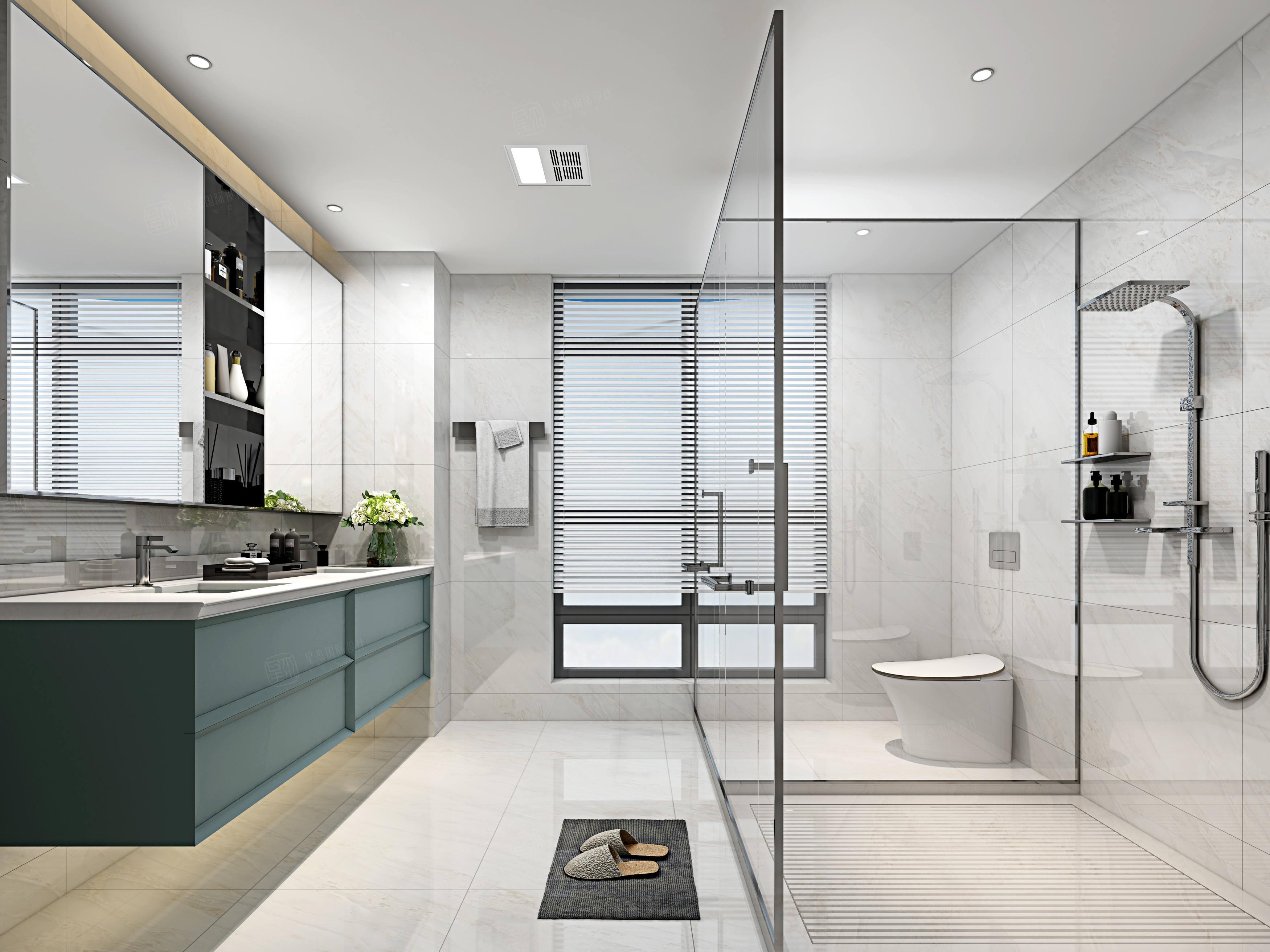 水清木华   现代装修卫生间效果图