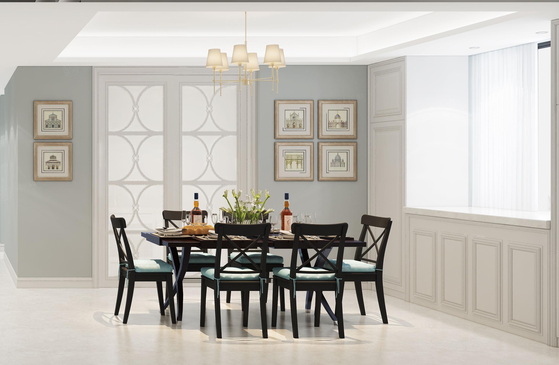 中环国际公寓 美式装修餐厅效果图