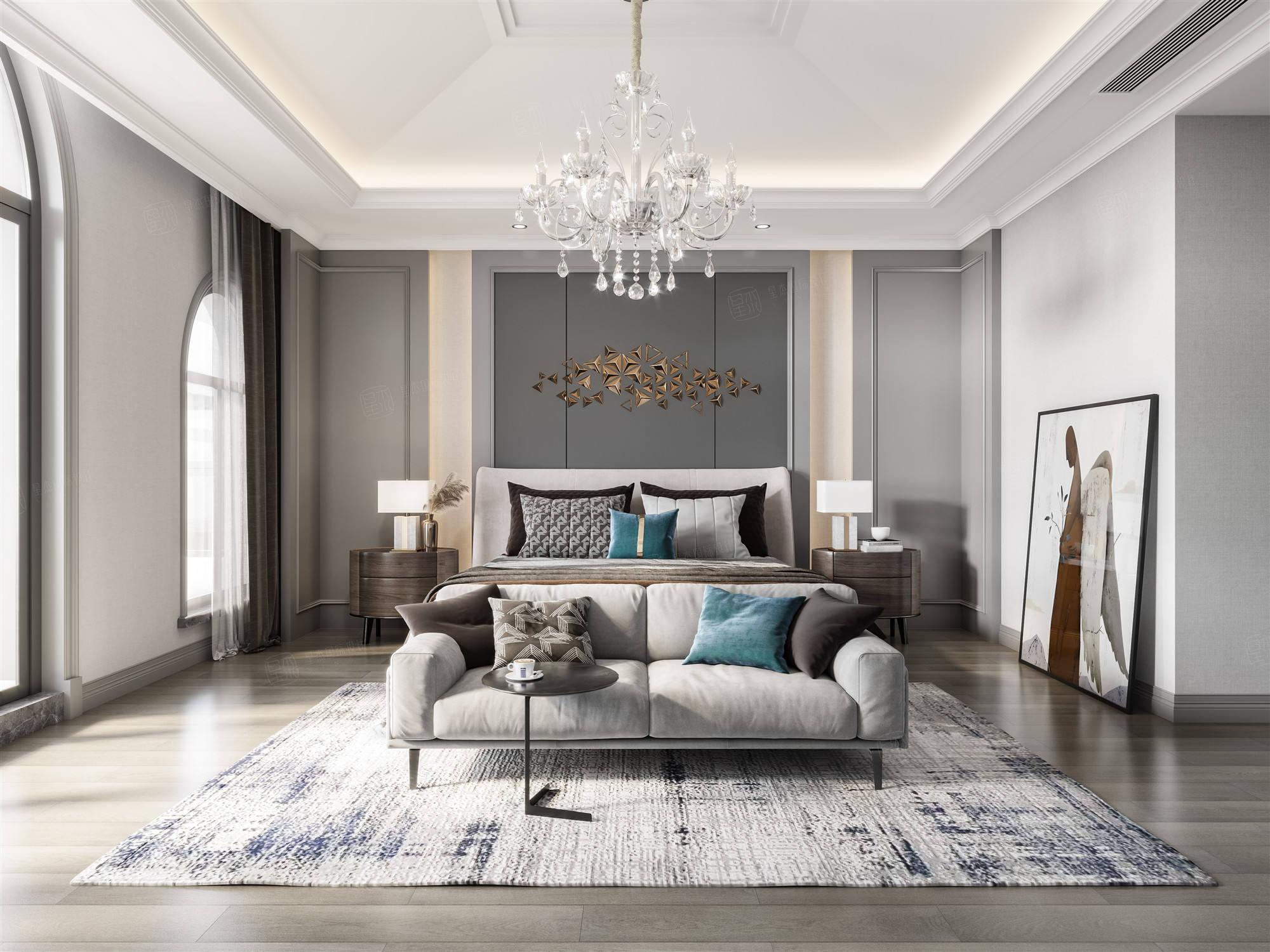 云间水庄  现代美式装修卧室效果图