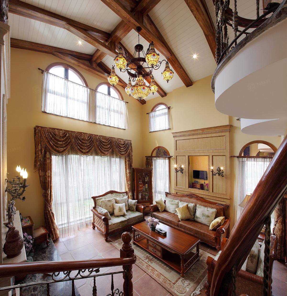 保利叶上海实景 西班牙风格装修客厅效果图