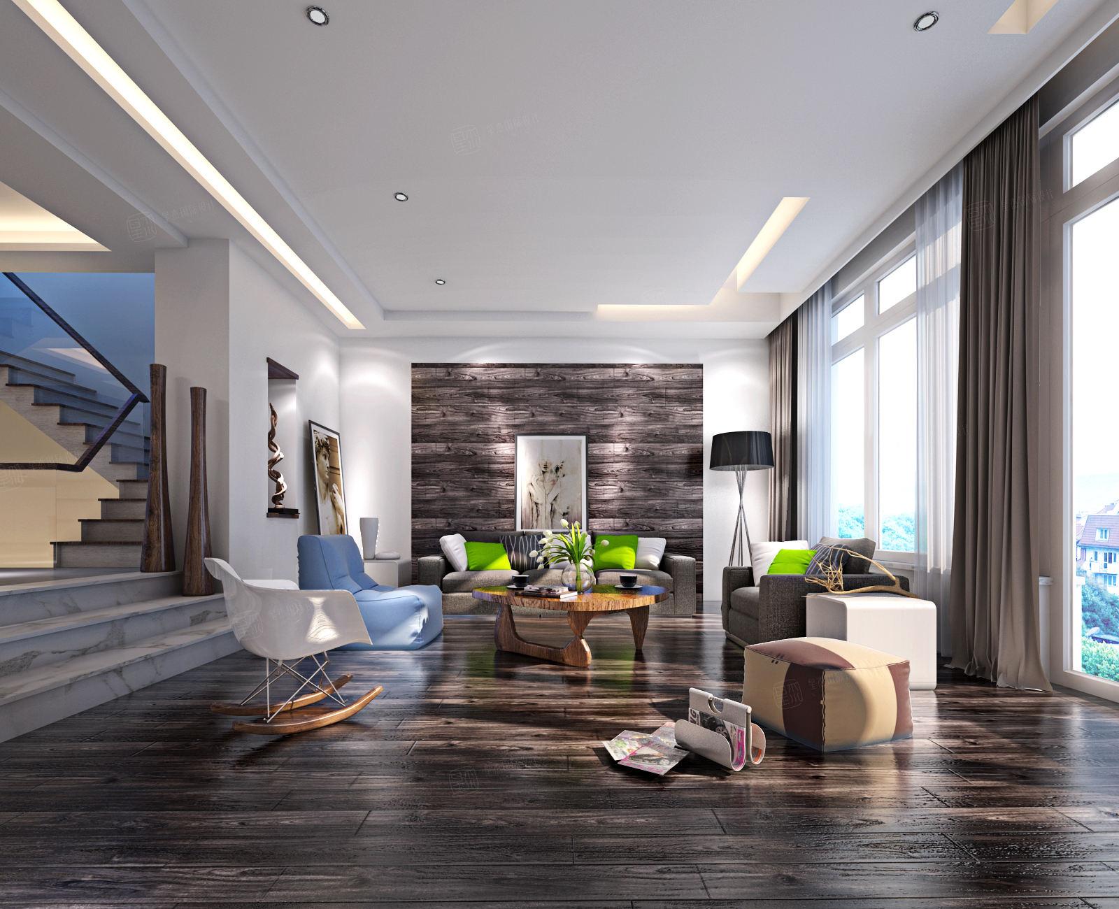 万科第五园 现代简约装修客厅效果图
