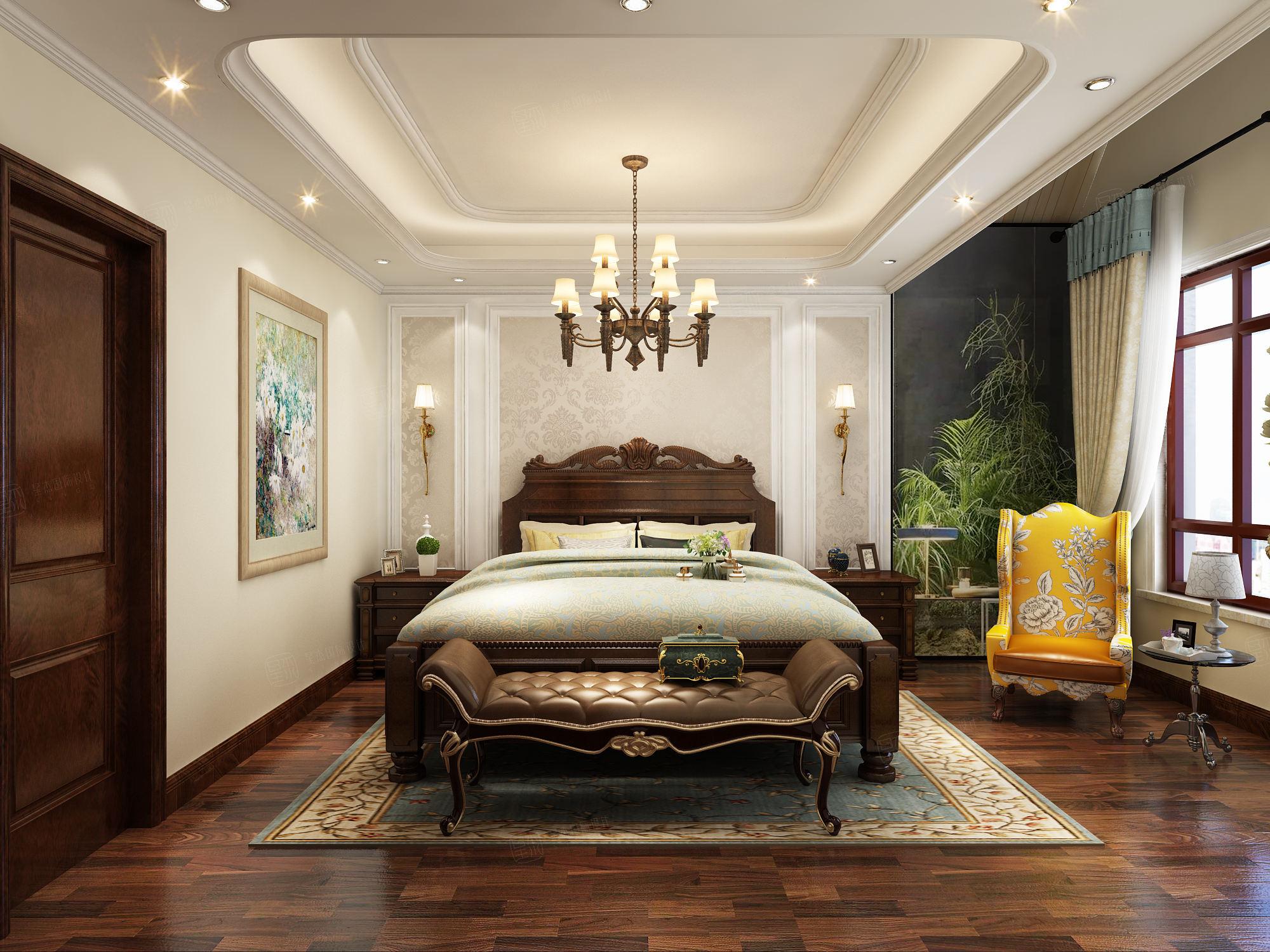 简美风格-依水和墅装修卧室效果图
