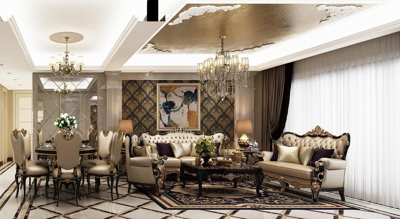 中环国际公寓 奢华欧式装修客厅效果图