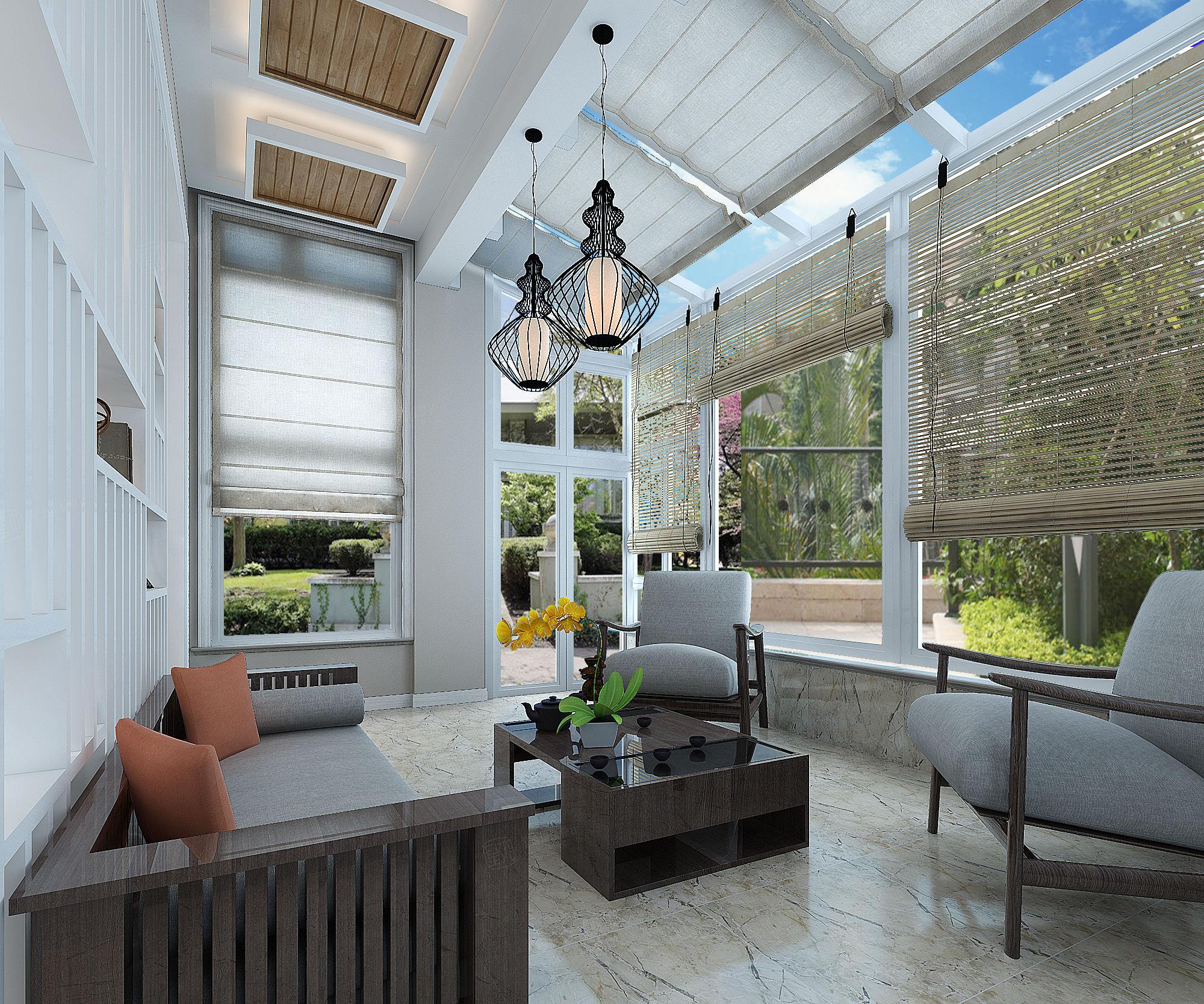 崇明绿地曼哈顿 美式装修客厅效果图
