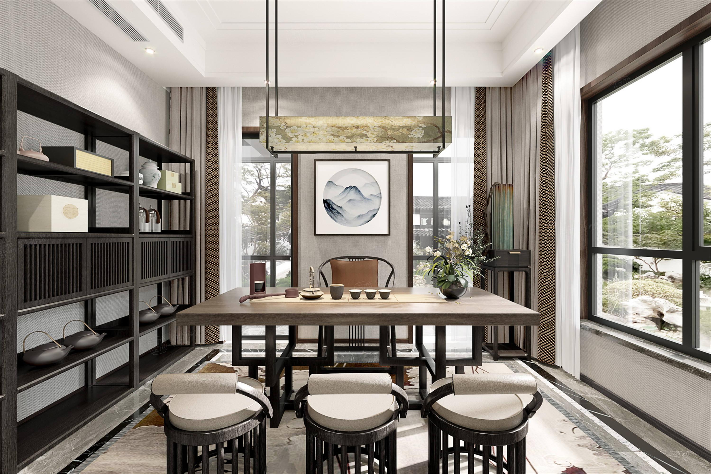 颐湾丽庭   新中式装修茶室效果图
