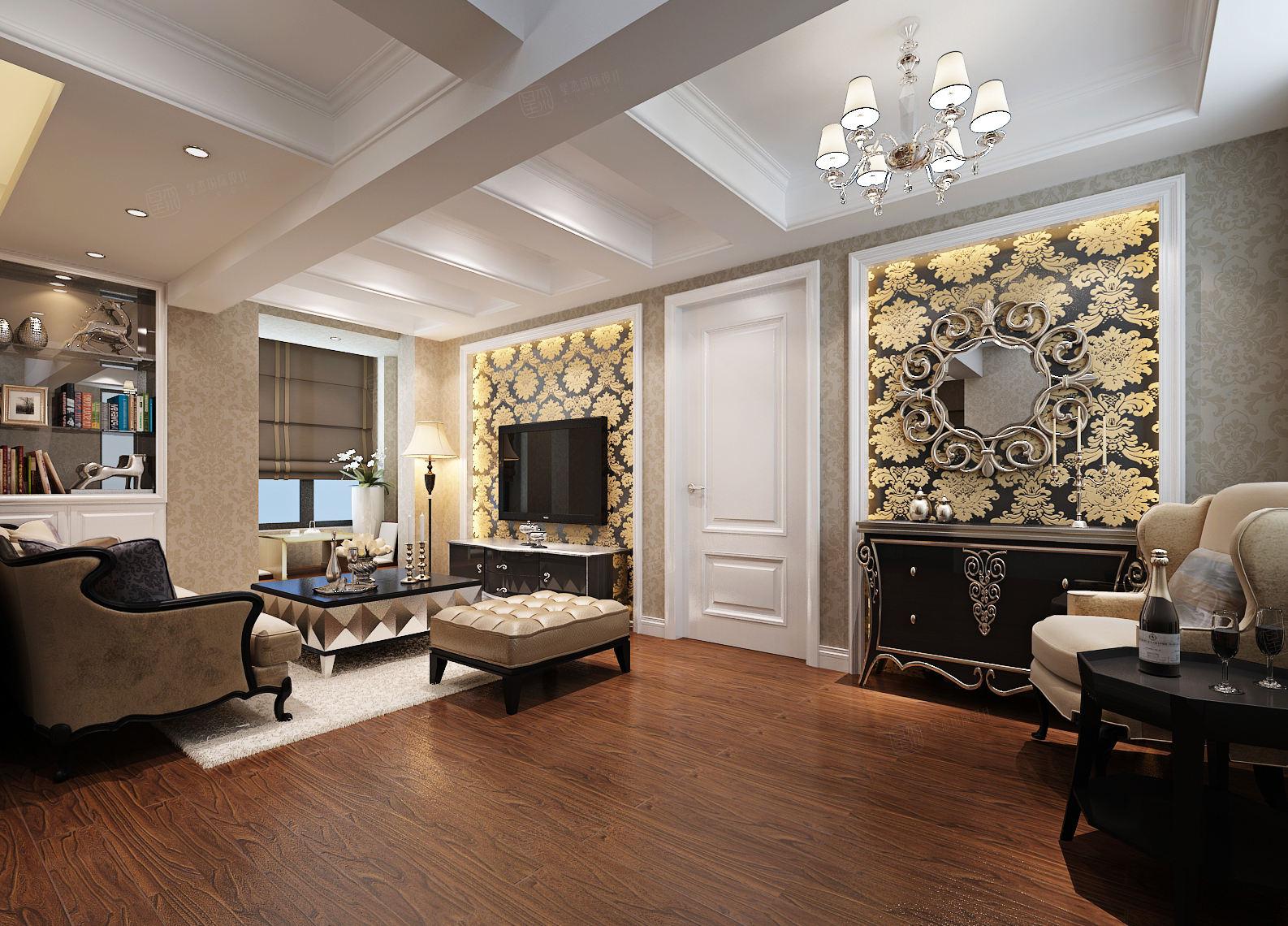 维纳阳光 欧式装修起居室效果图