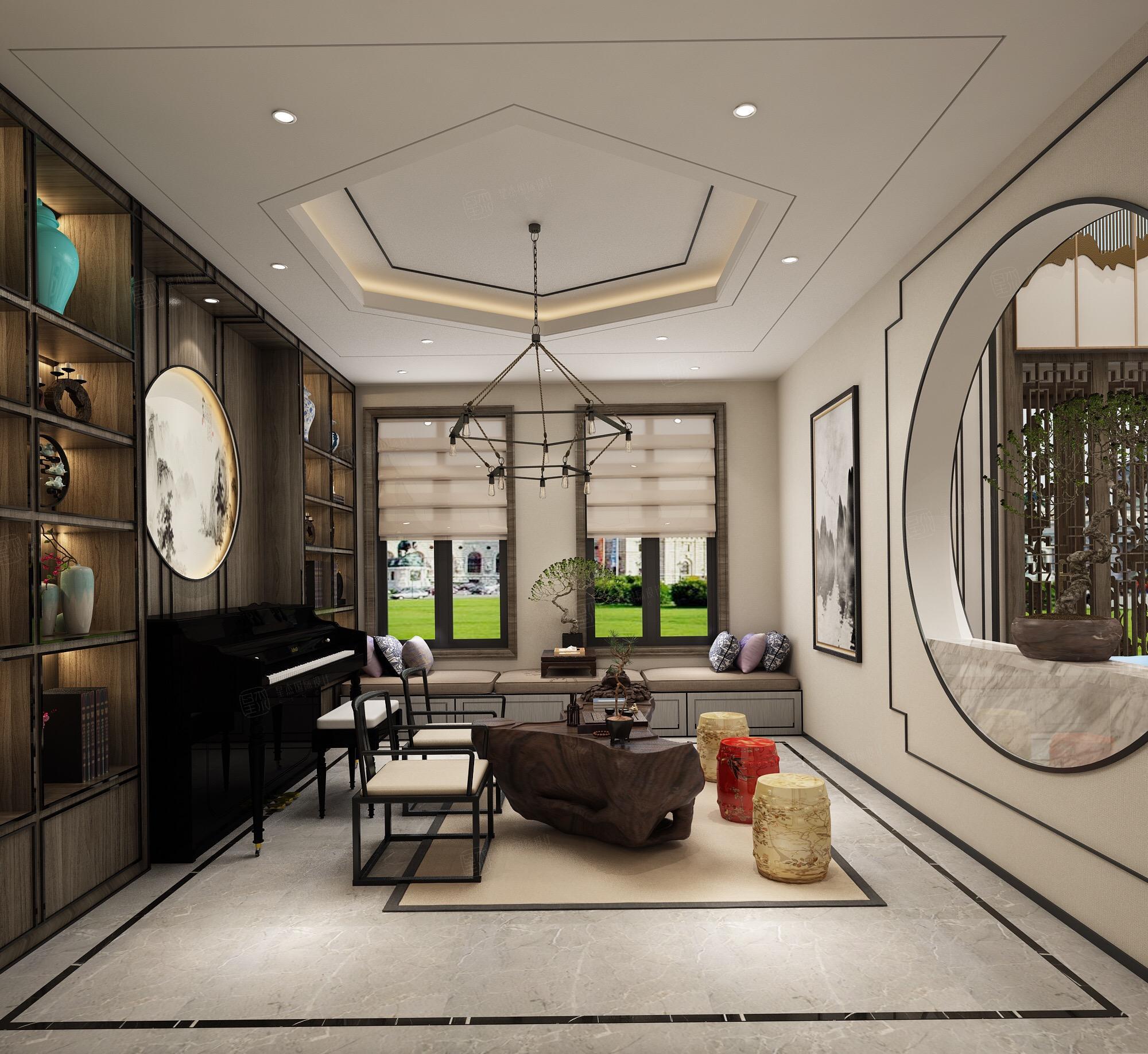 新中式风格-复地温莎堡装修琴房效果图