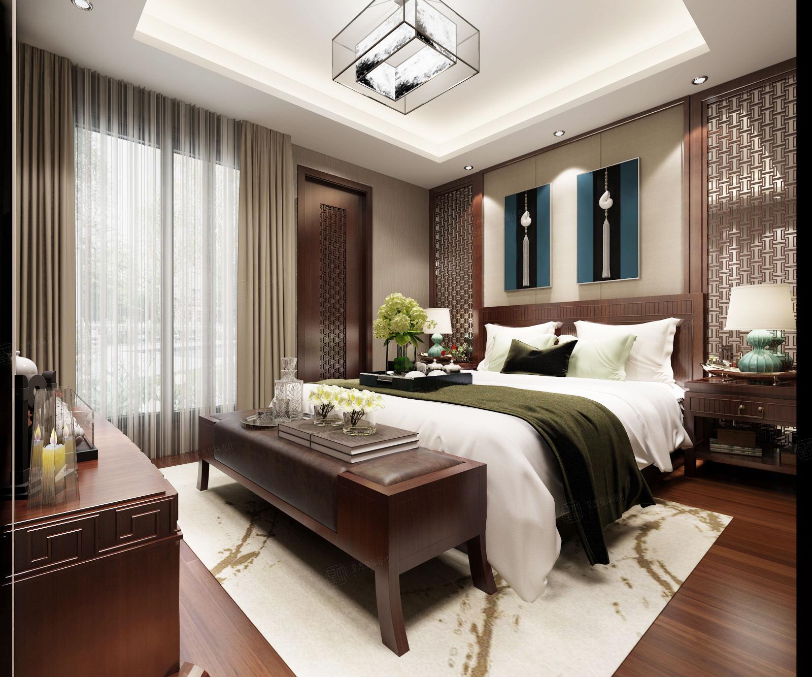 万科蓝山 新中式装修卧室效果图