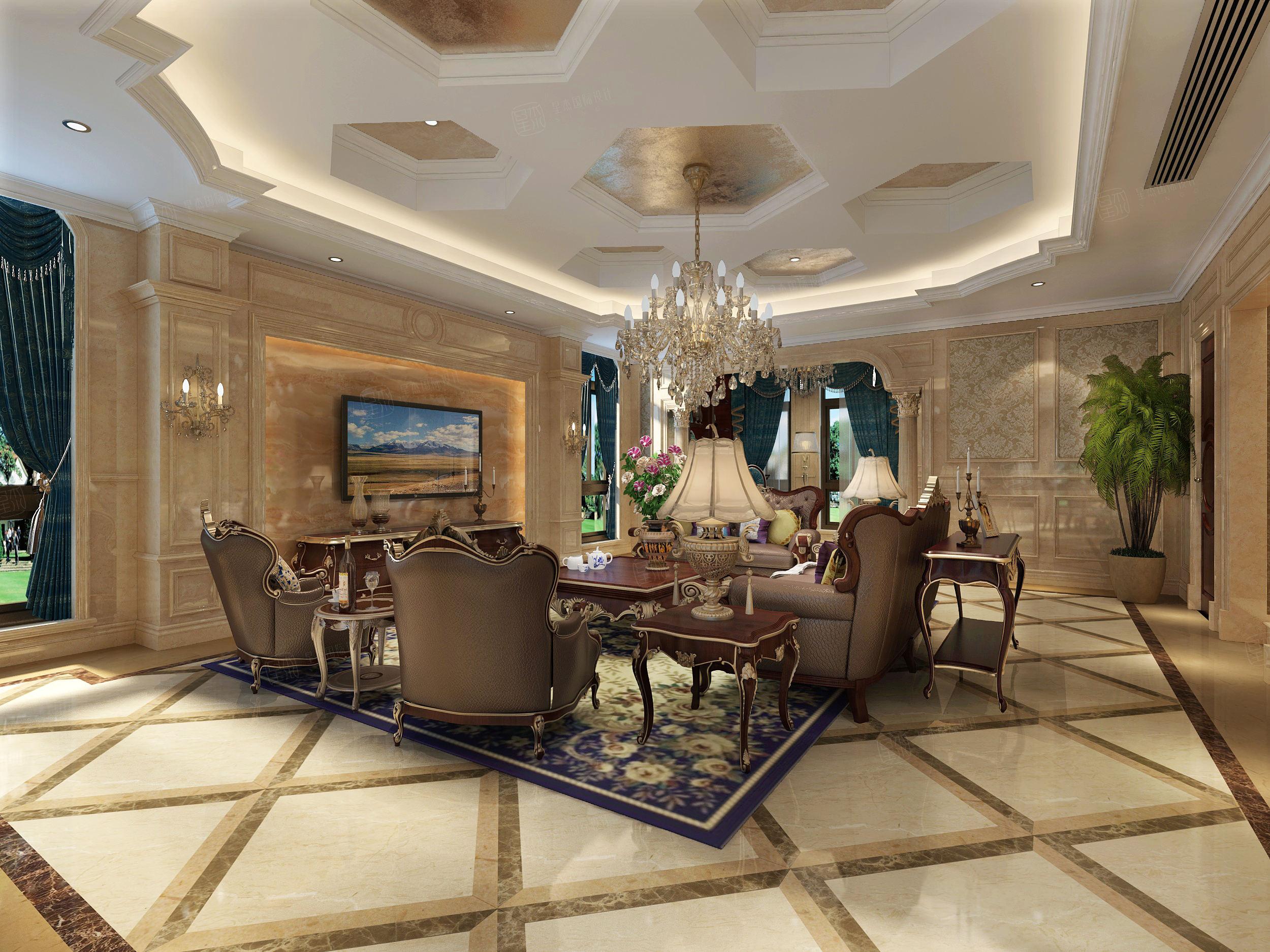 温州自建别墅 欧式 装修客厅效果图