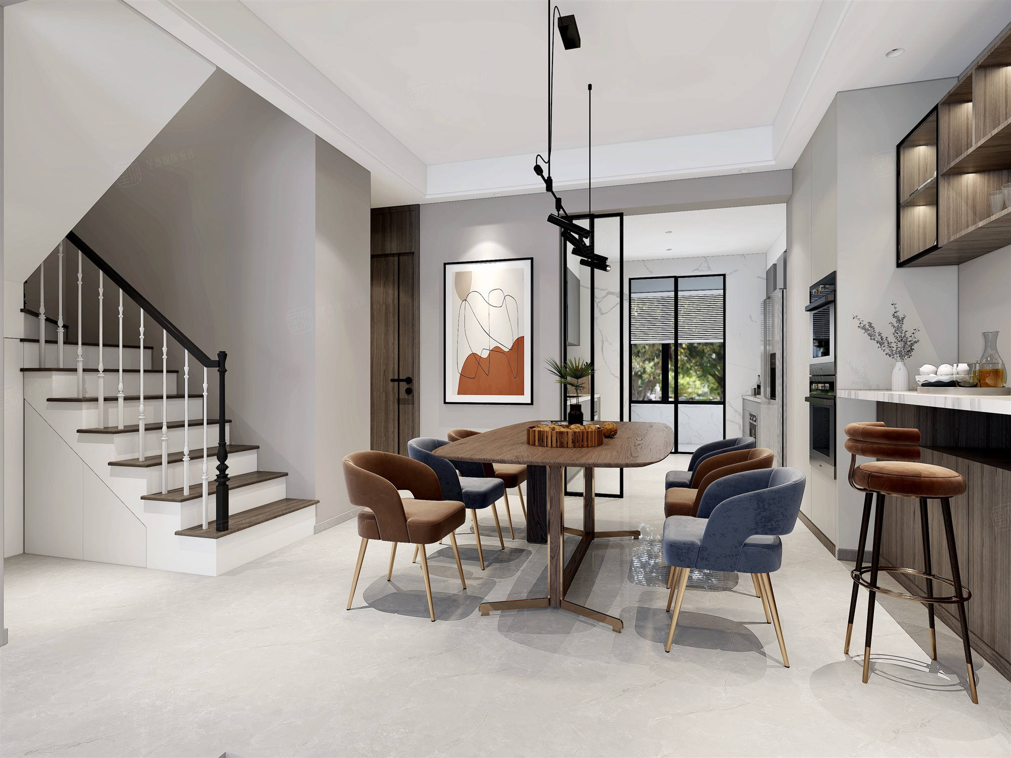 汤臣豪庭  现代风格装修餐厅效果图