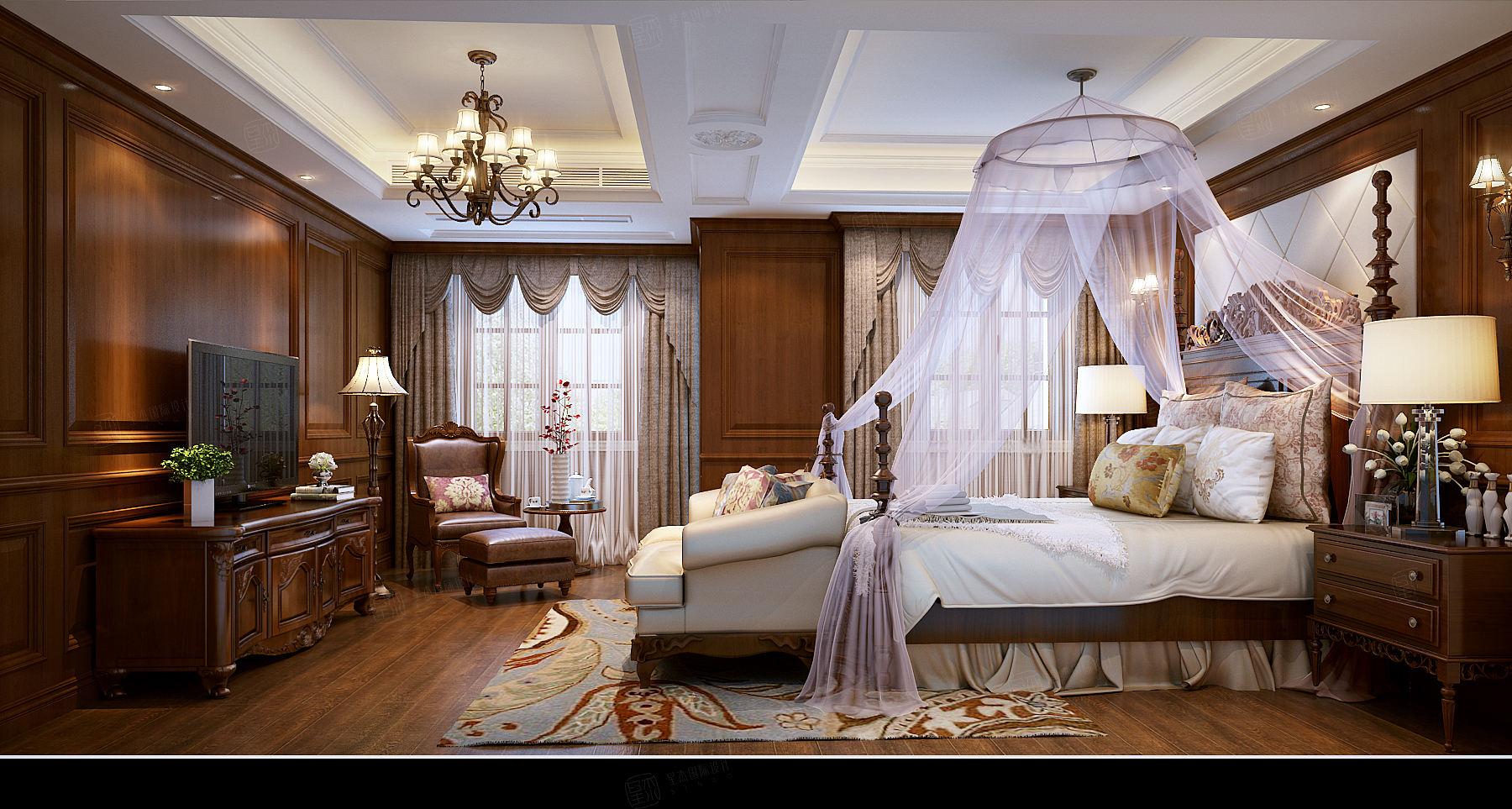 私人别墅 美式装修卧室效果图