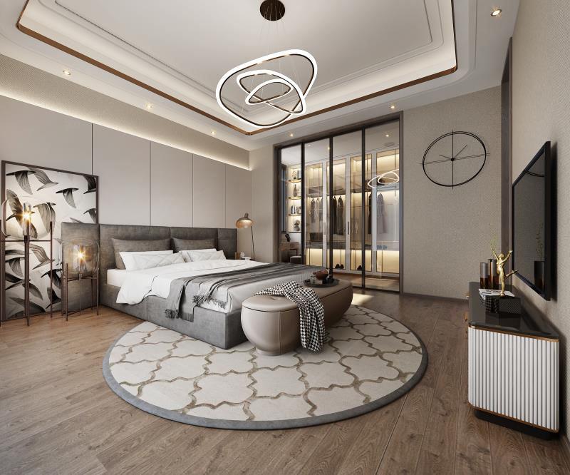 西郊缤纷-新东方主义装修卧室效果图