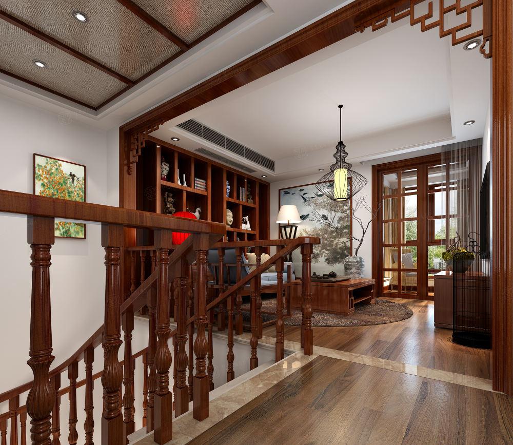 中景水岸 中式装修会客厅效果图