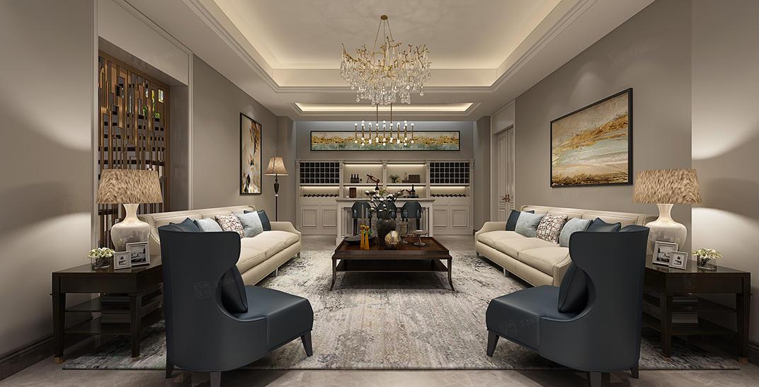 绿城兰园  美式装修客厅效果图