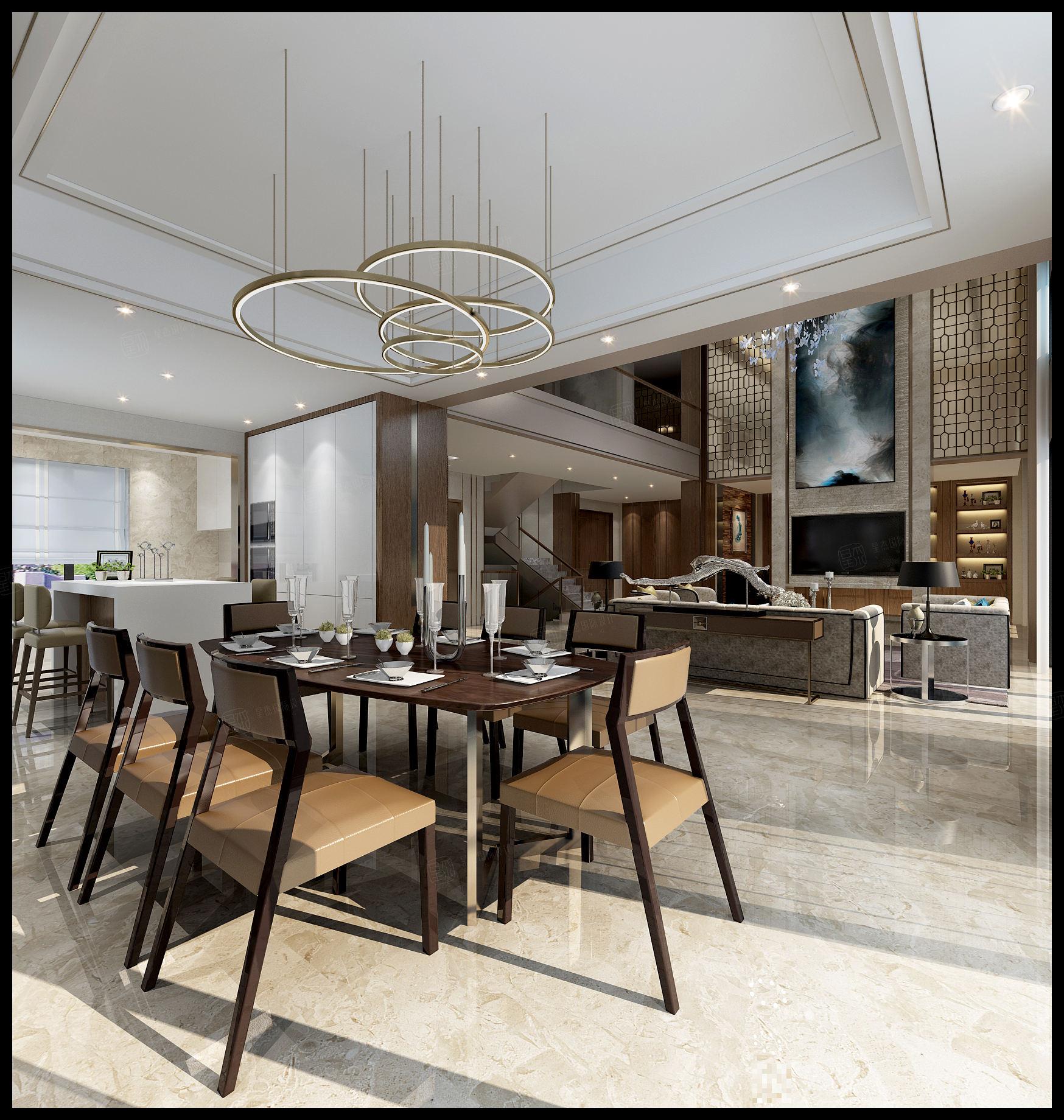 华侨城十号院 现代简奢装修餐厅效果图