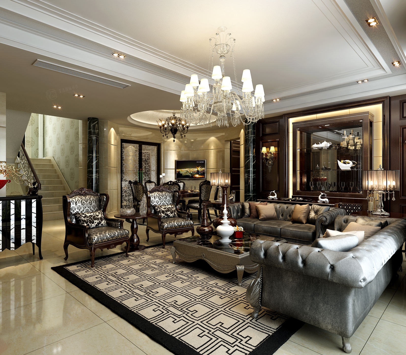 一品漫城 欧式新古典装修客厅效果图